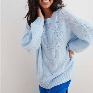 AERIE  Oversized Blue Knit Wool Sweater XS warm